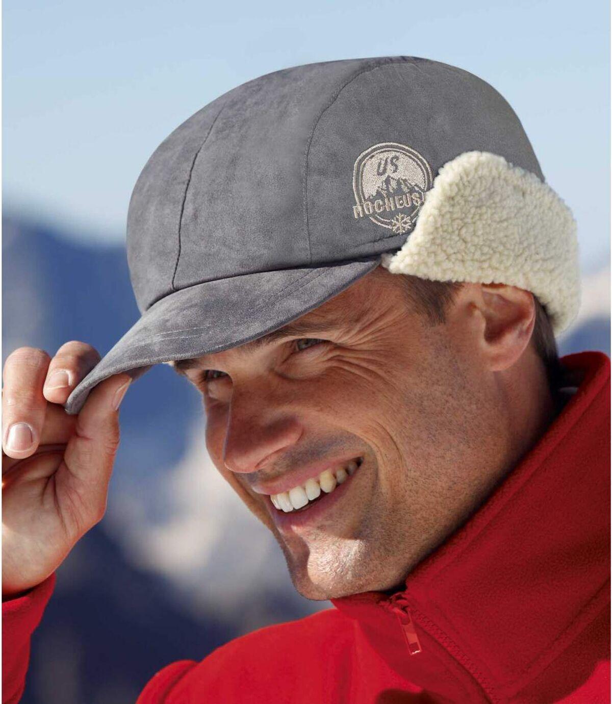 Semišová kšiltovka spodšívkou zumělé kožešiny Atlas For Men
