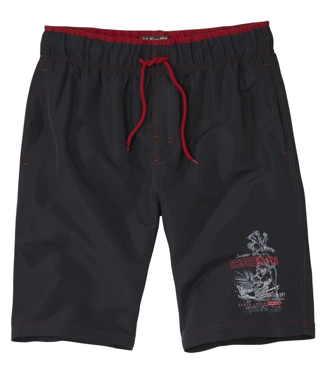 Men's Surf Print Swim Shorts - Black