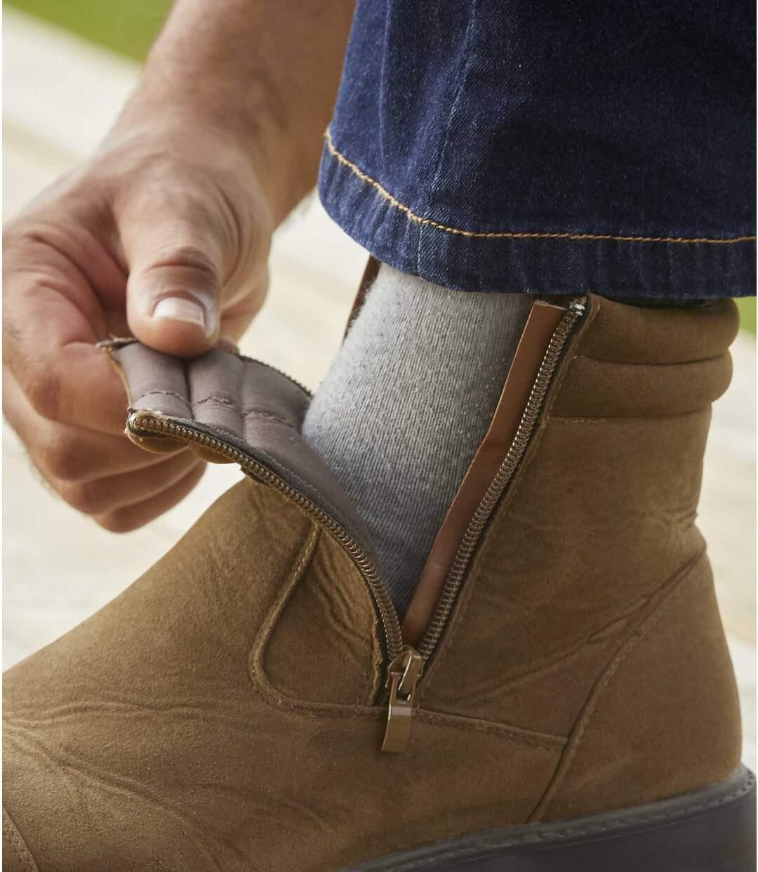 Men's Brown Faux-Suede Boots - Water-Repellent