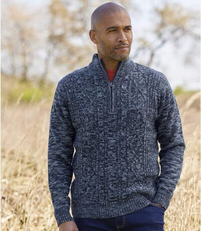 Men's Blue Cable Knit Sweater
