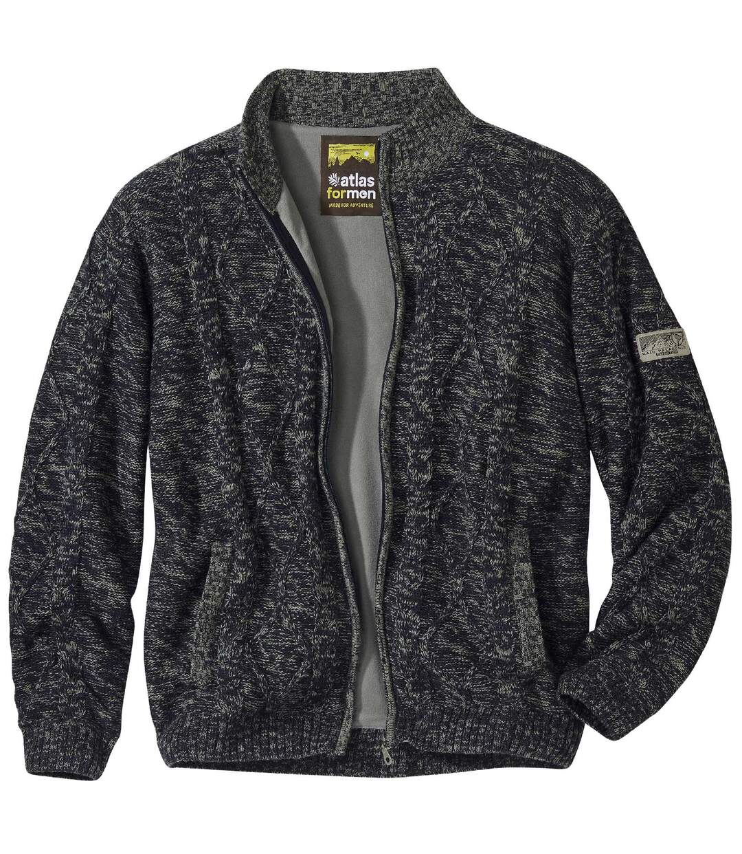 Men's Fleece-Lined Full Zip Knitted Jacket - Dark Grey Marl