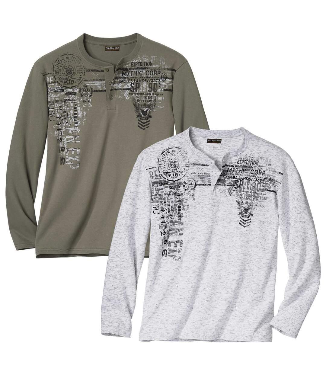 Zestaw 2 t-shirtów z dekoltem na guziki Adventure