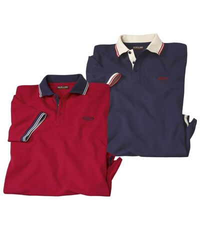 Pack of 2 Men's Piqué Fabric Polo Shirts - Navy, Red