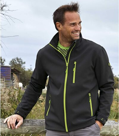Men's Microfleece-Lined Softshell Jacket - Water-Repellent - Black