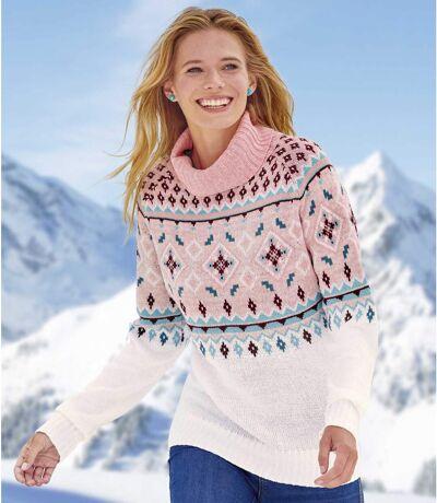 Trykotowy sweter golf z żakardowymi wzorami