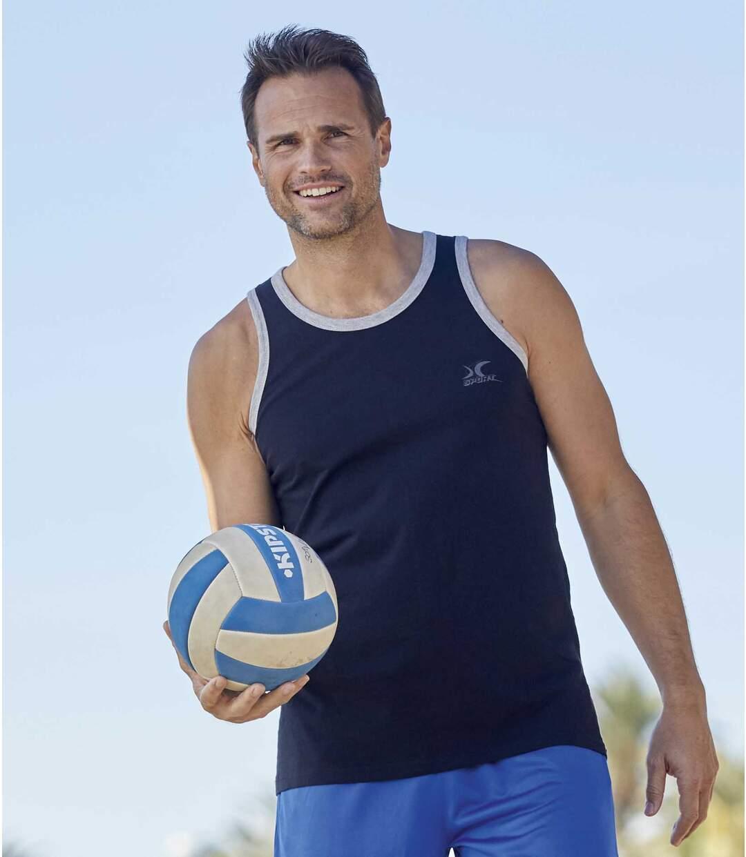 Pack of 3 Men's Basic Sports Vests - Black White Blue