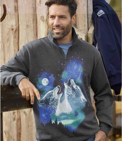 Men's Wolf Print Brushed Fleece Jumper - Half-Zip - Anthracite