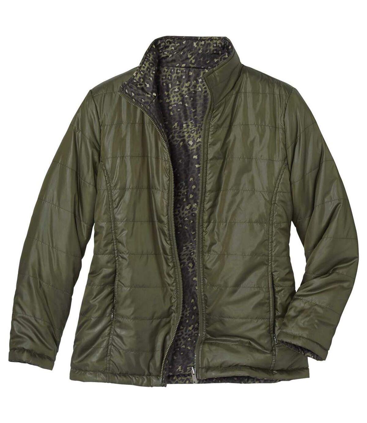 Oboustranná prošívaná bunda vbarvě khaki a sleopardím potiskem Atlas For Men