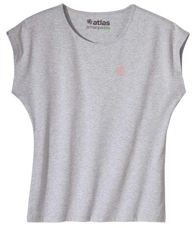 Le Tee-Shirt Femme Sans Manches Coton Bio Gris Chiné