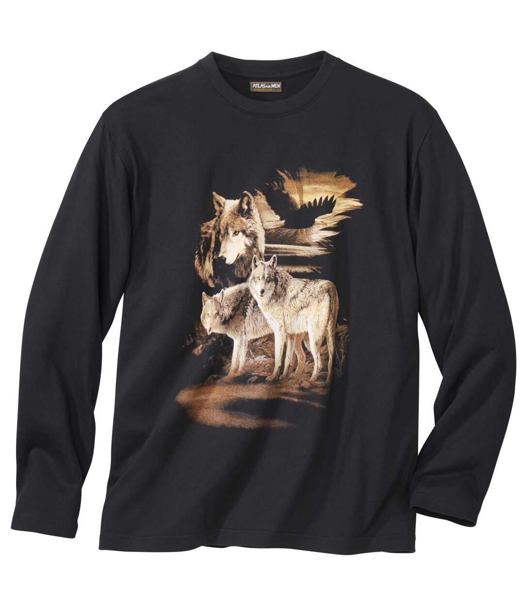 Farkas mintázatú hosszú ujjú póló