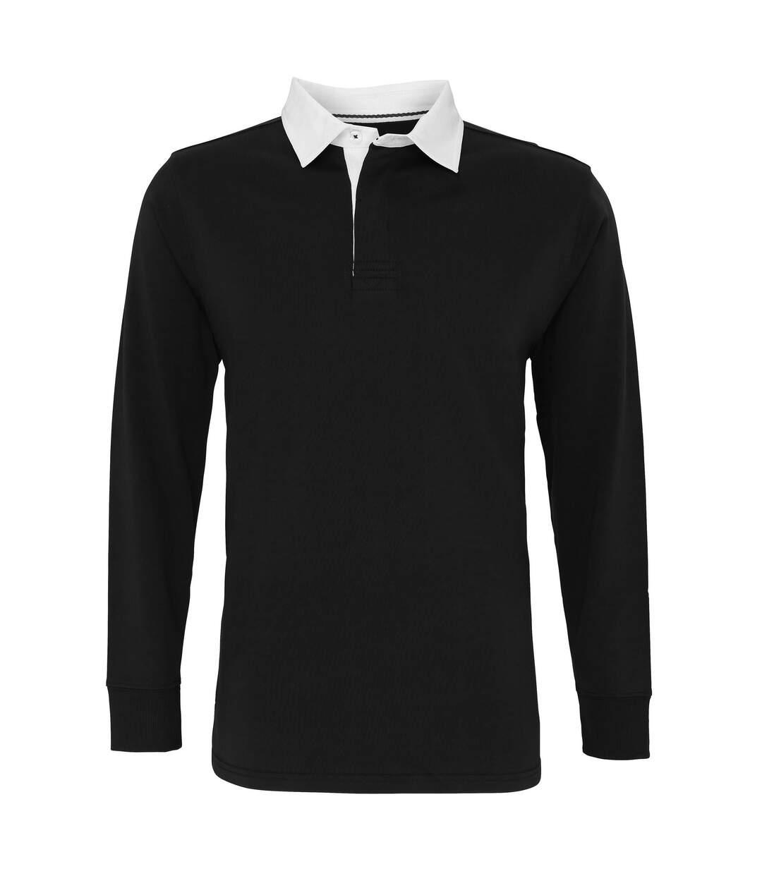 Asquith & Fox - Polo De Rugby Classique À Manches Longues - Homme (Noir) - UTRW3914