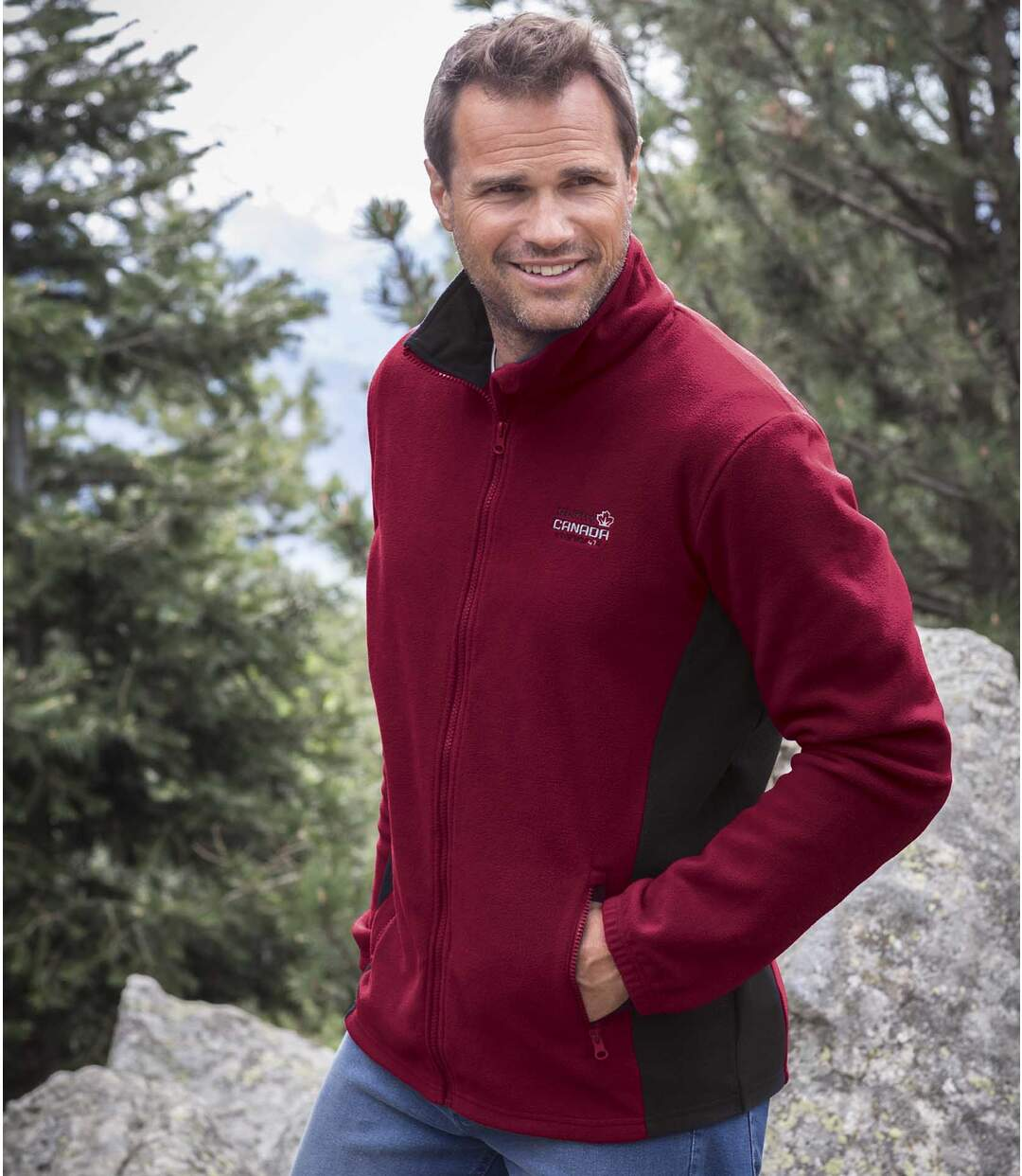 Pack of 2 Men's Atlas® Fleece Jackets - Burgundy Grey