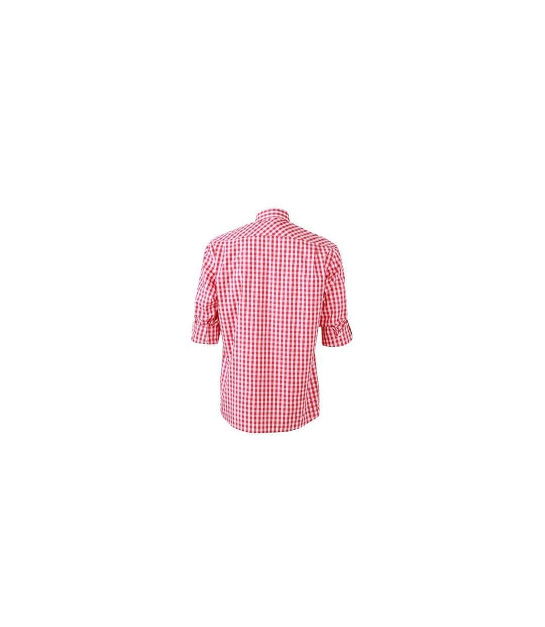 chemise manches longues à carreaux - JN638 - HOMME - rouge et blanc