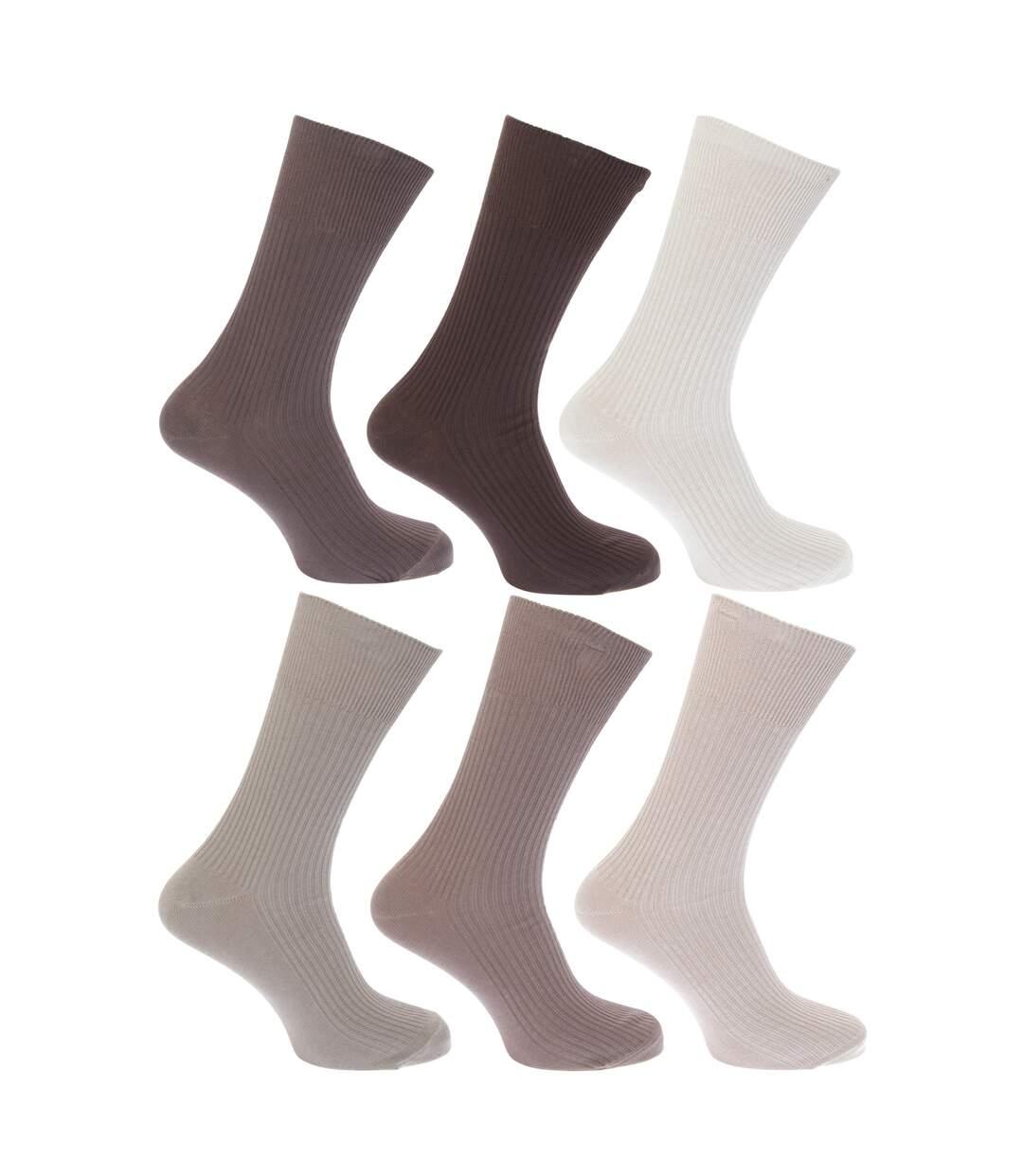 FLOSO Mens Ribbed Non Elastic Top 100% Cotton Socks (Pack Of 6) (Shades of Grey) - UTMB186