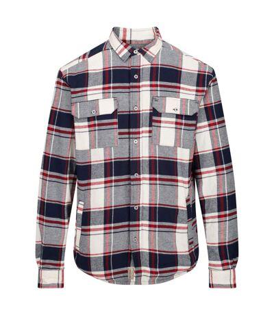 Regatta Mens Tygo Long Sleeved Checked Lined Shirt (Navy) - UTRG4601
