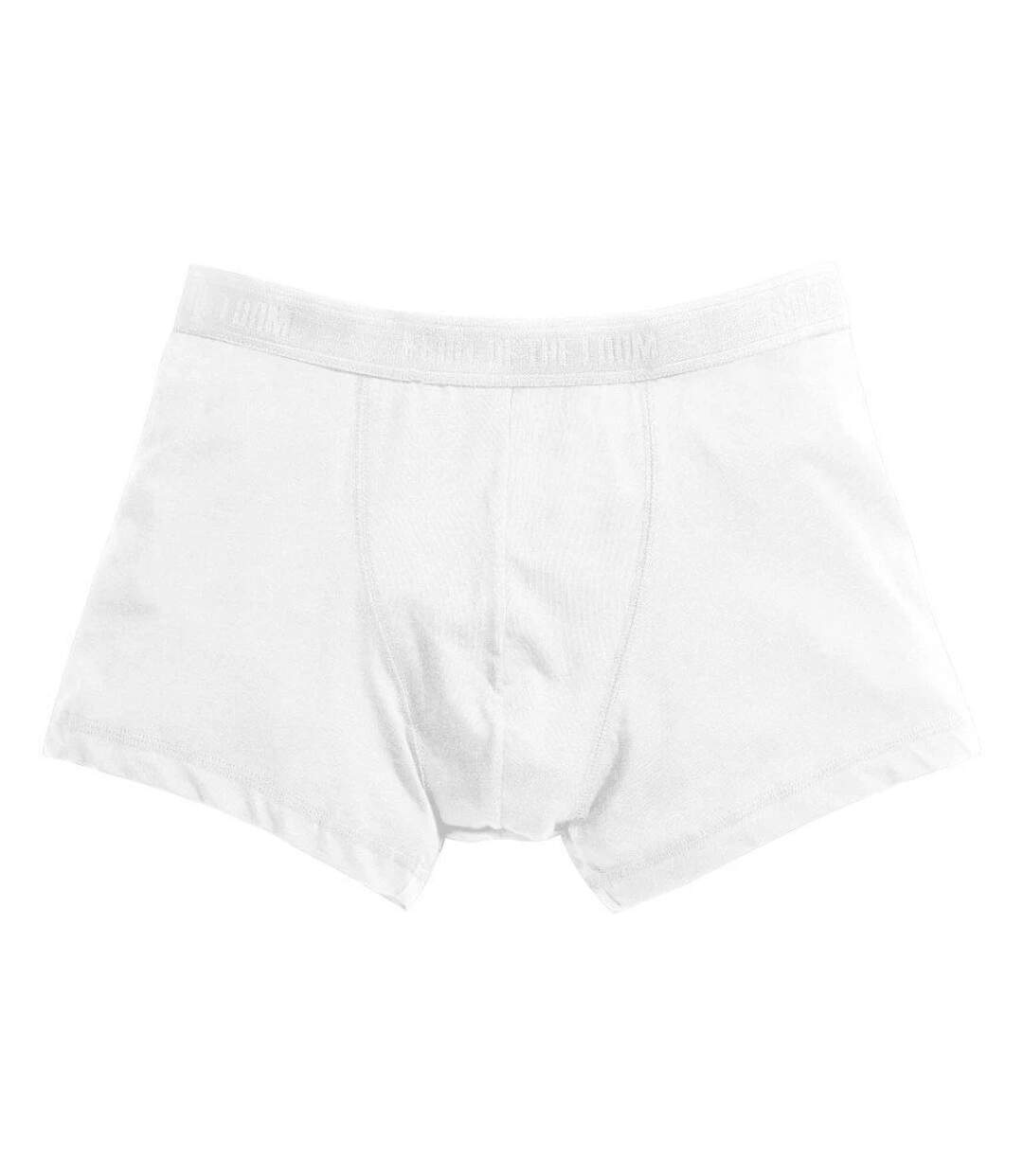 Fruit Of The Loom Mens Classic Shorty Cotton Rich Boxer Shorts (Pack Of 2) (White) - UTBC3357