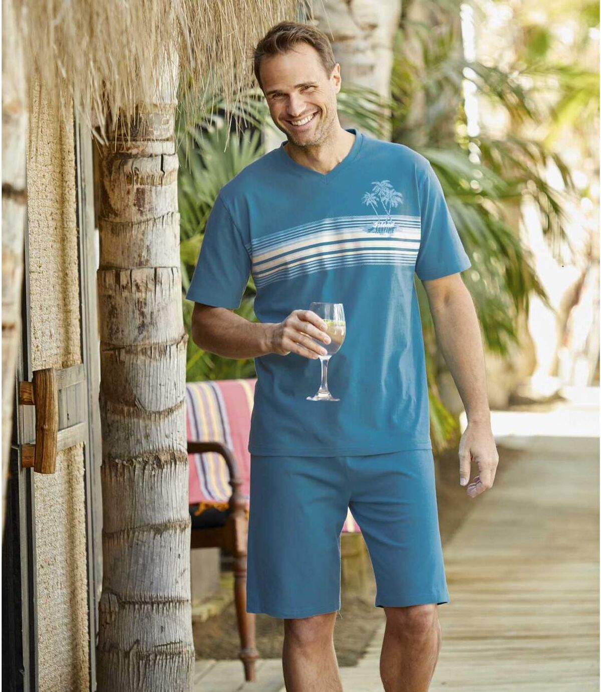 Krátke letné pyžamo Hawaï Surfing Atlas For Men