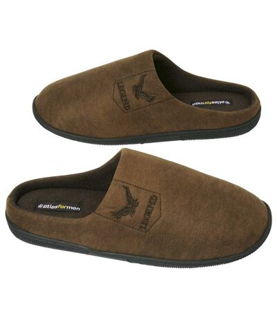 Men's Brown Faux-Suede Slippers