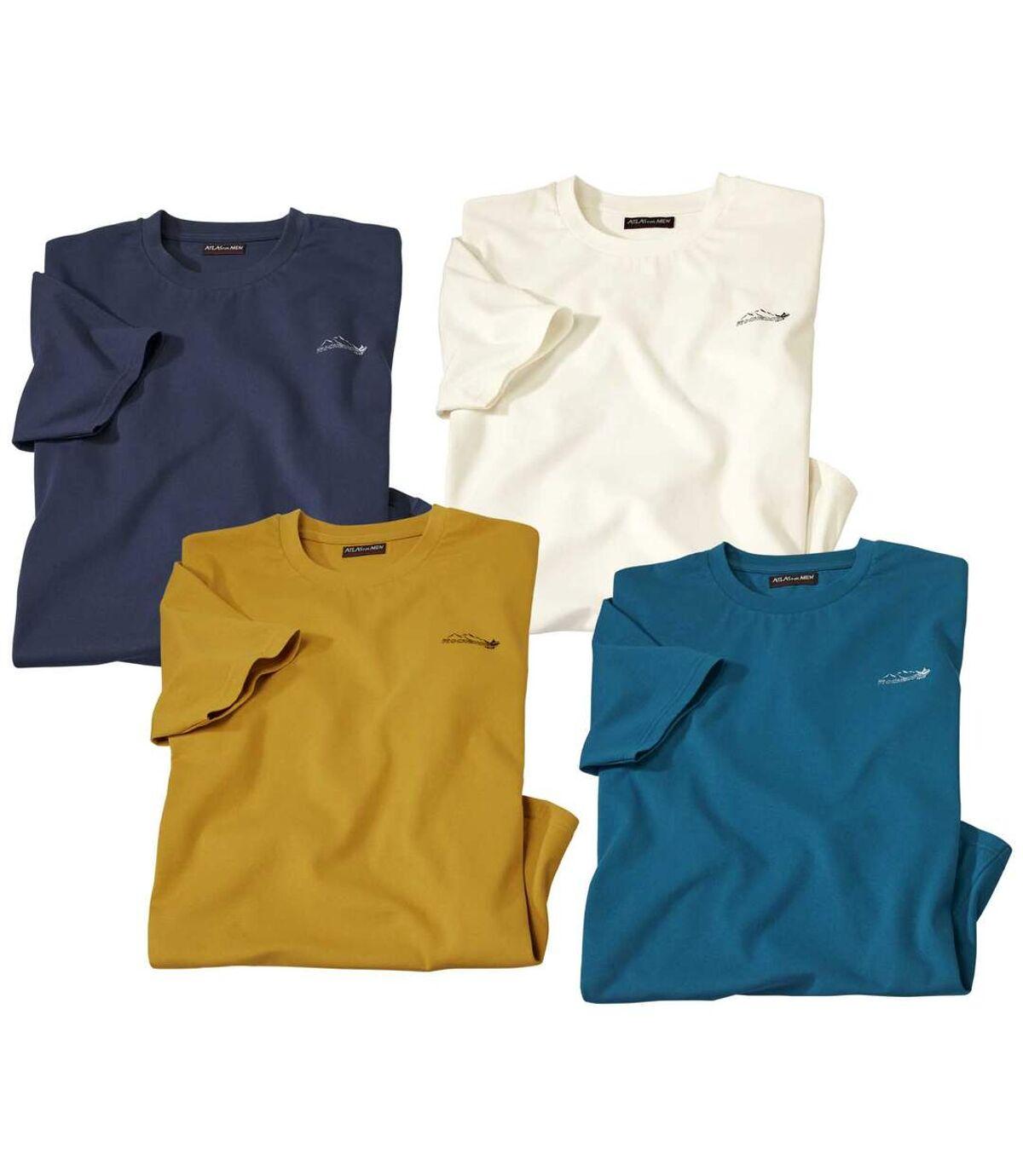 Pack of 4 Men's T-Shirts - Blue Yellow Ecru Atlas For Men