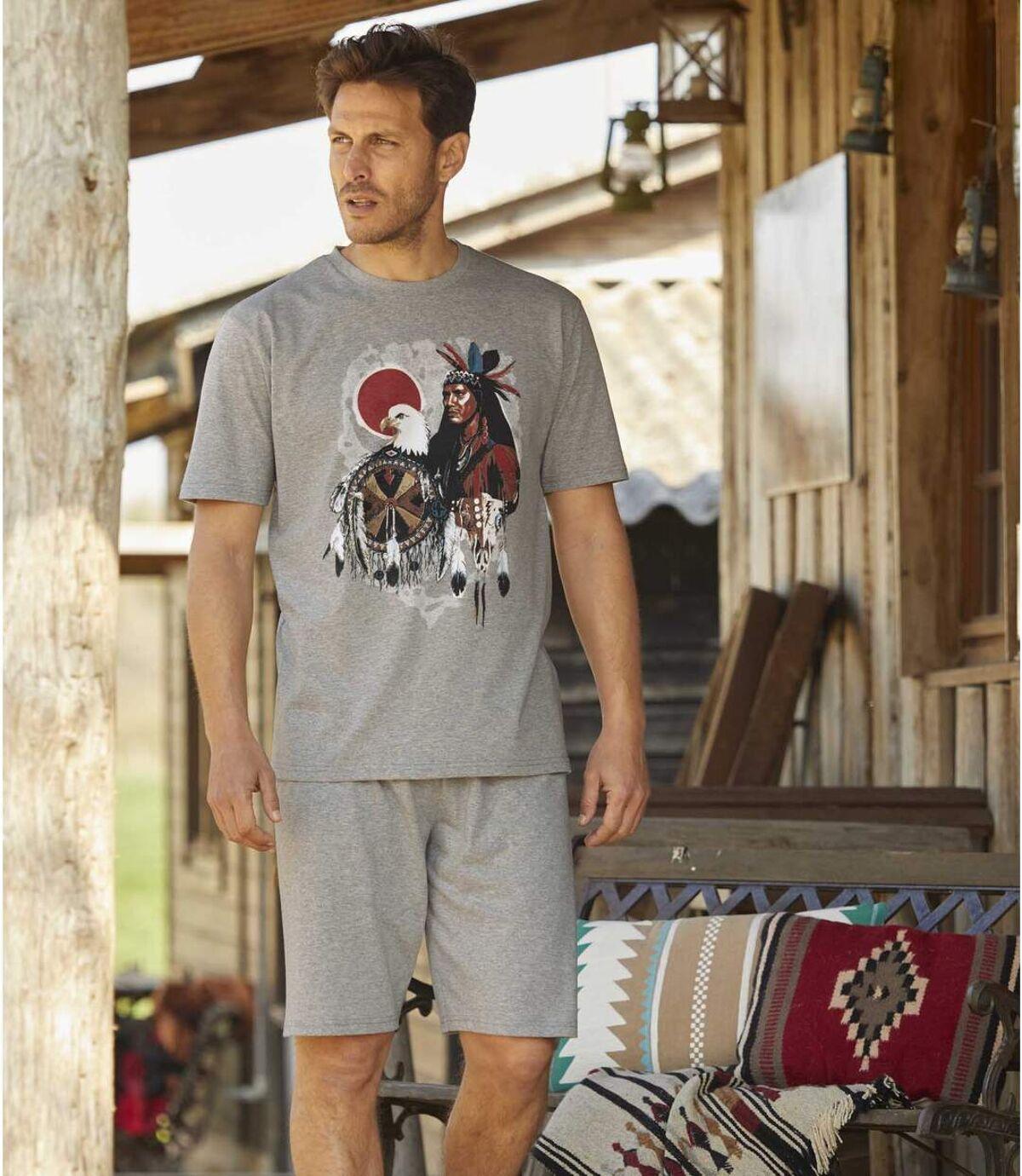 Kurzer Schlafanzug mit Indianer-Motiv Atlas For Men