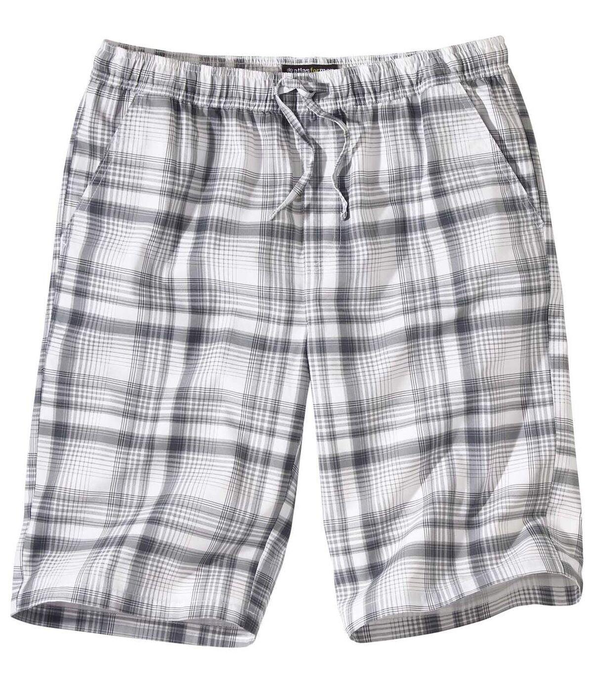 Men's Grey Checked Shorts Atlas For Men