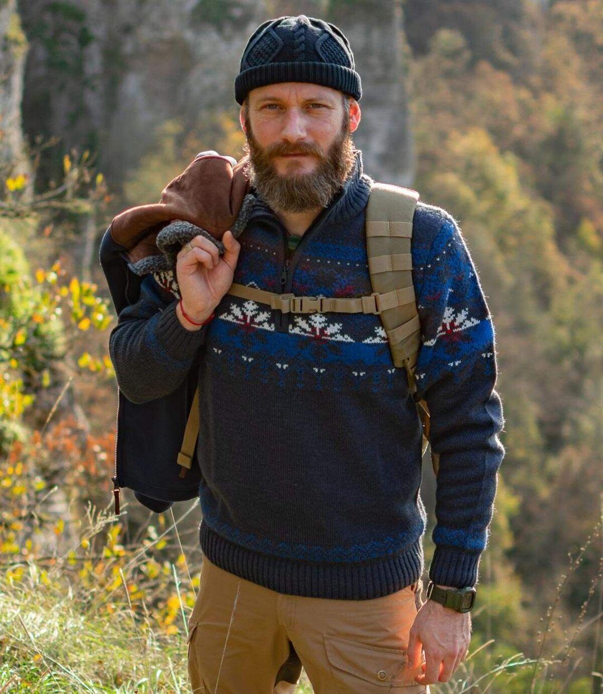 Strickpullover mit Jacquard-Muster und Troyerkrage Atlas For Men