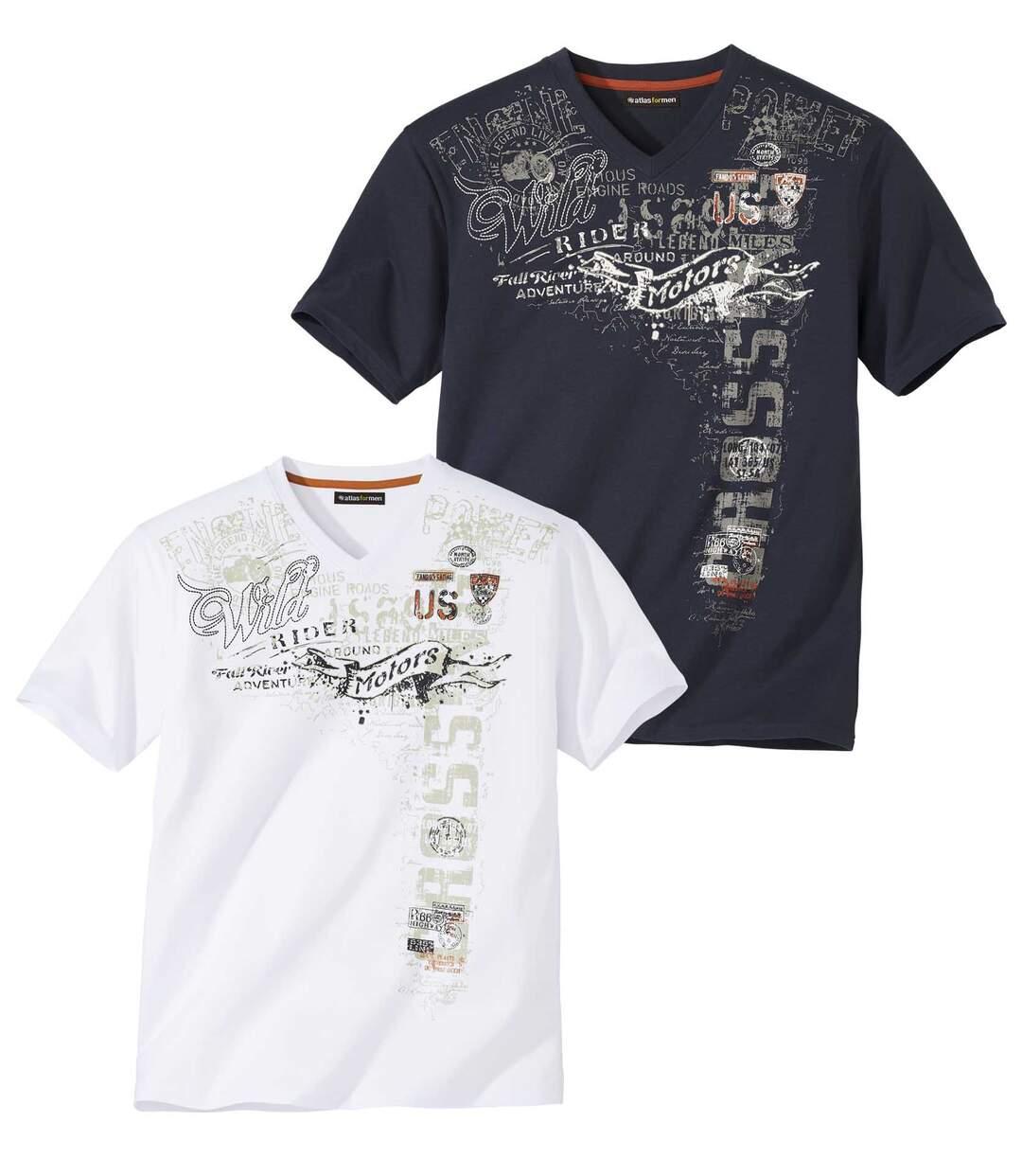 Zestaw 2 t-shirtów z dekoltem w serek Rider