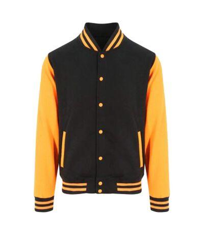 Awdis Unisex Varsity Jacket (Jet Black/Orange Crush) - UTPC2083