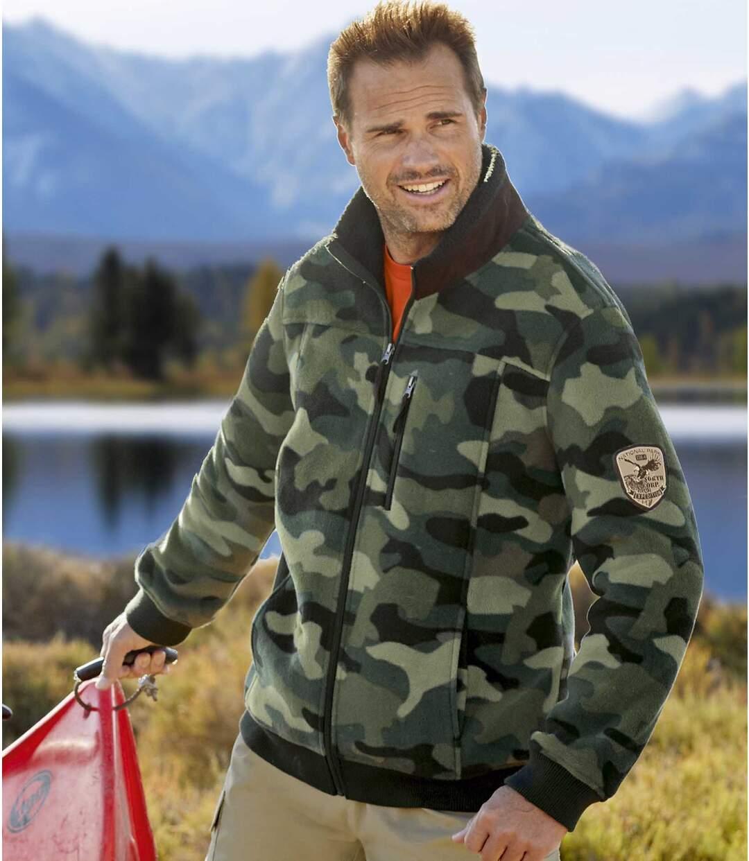 Men's Camouflage Fleece Jacket - Khaki