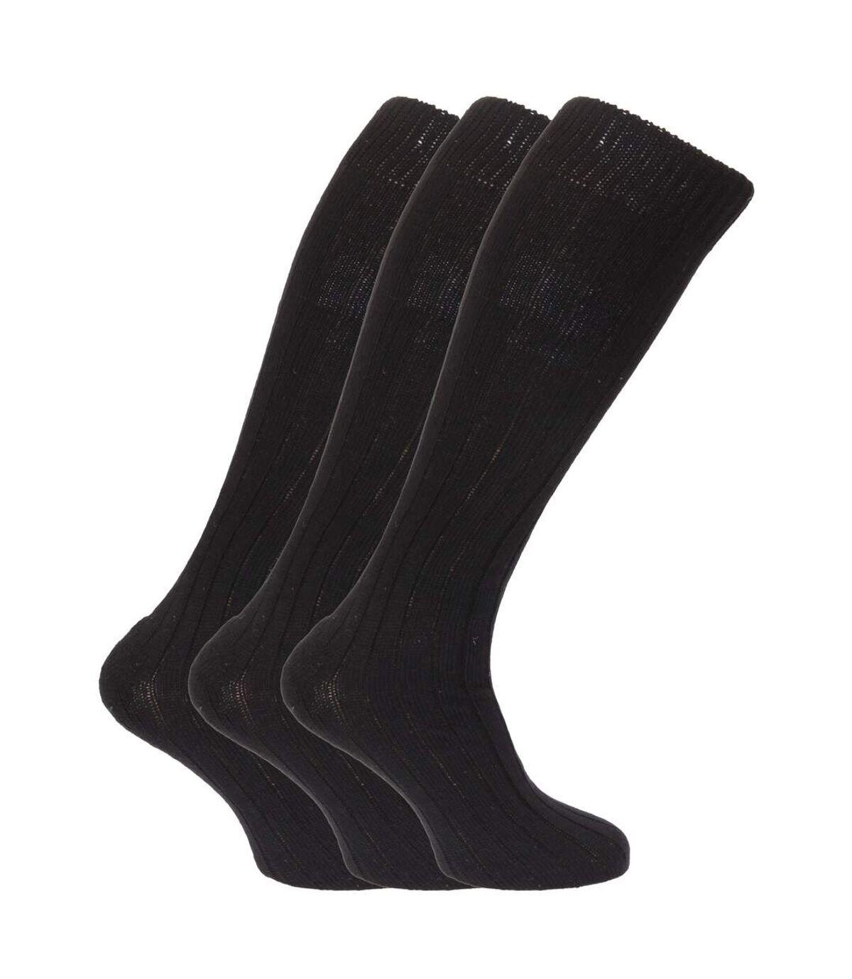 Mens Wool Blend Long Length Socks With Padded Sole (Pack Of 3) (Black) - UTMB160