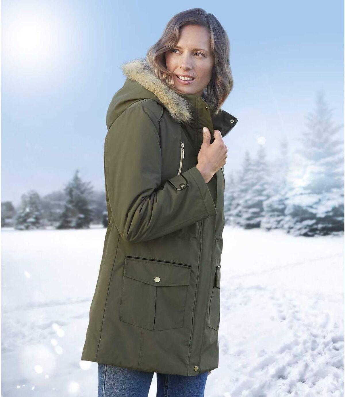 Women's Khaki Multipocket Parka - Faux Fur Hood - Water Repellent Atlas For Men
