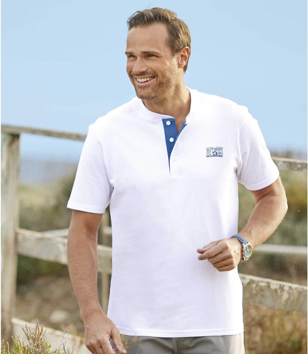 Zestaw 3 t-shirtów z dekoltem z guzikami Aventure