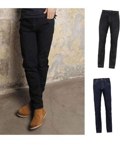 Lot 2 pantalons jean stretch confort homme - 03180 - noir et bleu denim