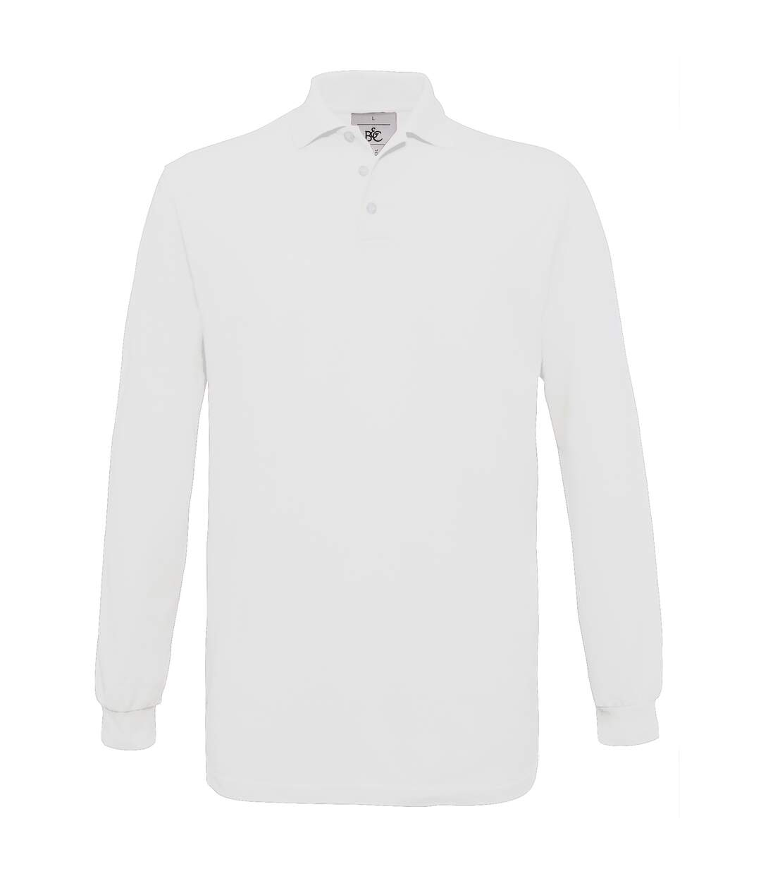 B&C Mens Safran Long Sleeve Cotton Polo Shirt (Black) - UTRW3005