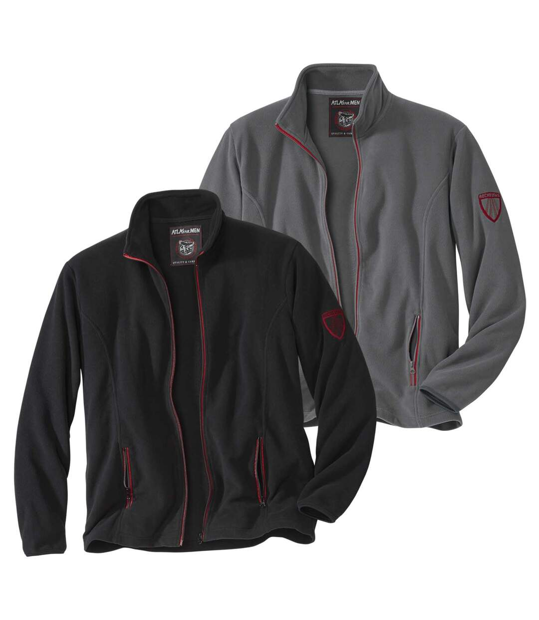 Pack of 2 Men's Rocky Mountain Microfleece Jackets - Grey Black