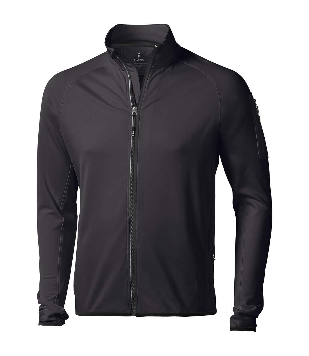 Elevate Mens Mani Power Fleece Full Zip Jacket (Solid Black) - UTPF1942