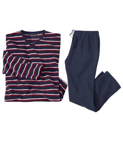 Flísové prúžkované pyžamo