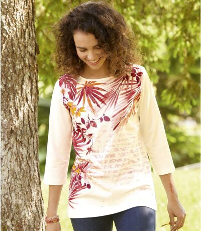 T-Shirt mit aufgedrucktem Palmenmotiv