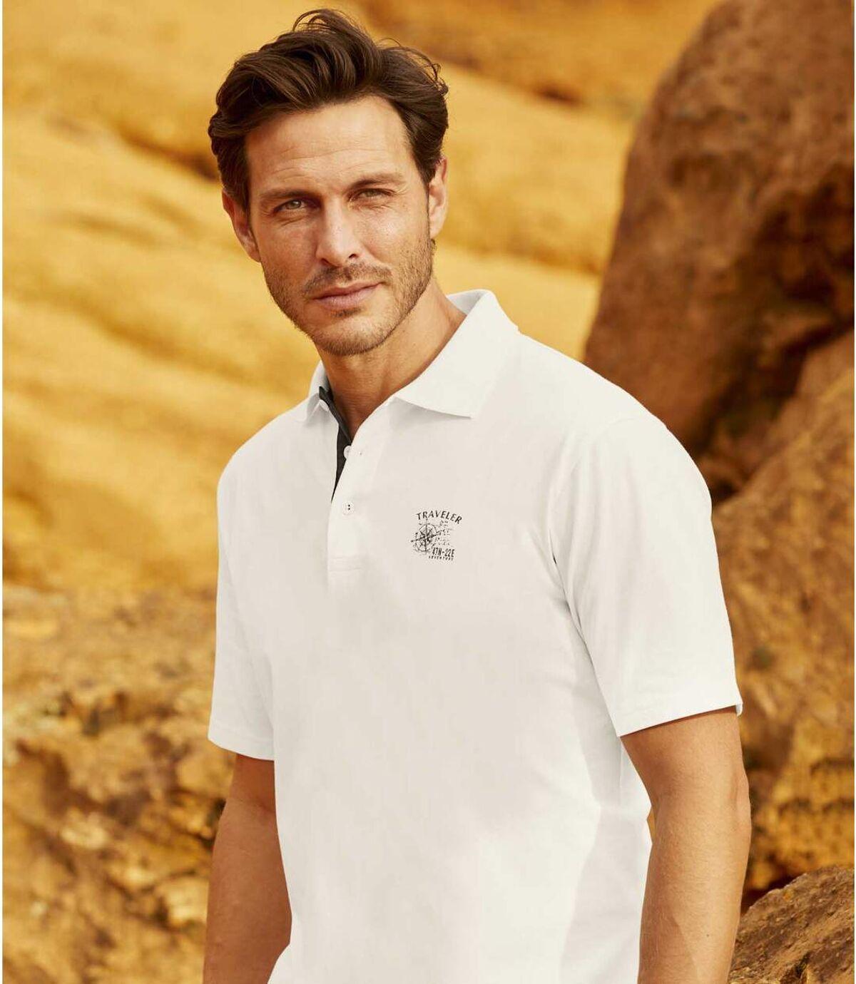 Pack of 3 Men's Adventure Polo Shirts - Ecru Red Grey Atlas For Men