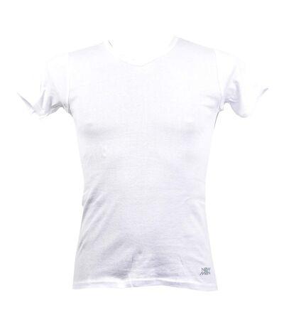 T shirt homme NEW MAN en Coton Confort et Qualité T Shirt Col V NEW MAN 3004 Blanc