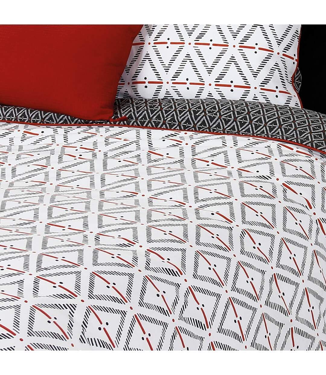 Parure de lit 260x240 cm 100% coton BENGAL Rouge 3 pièces