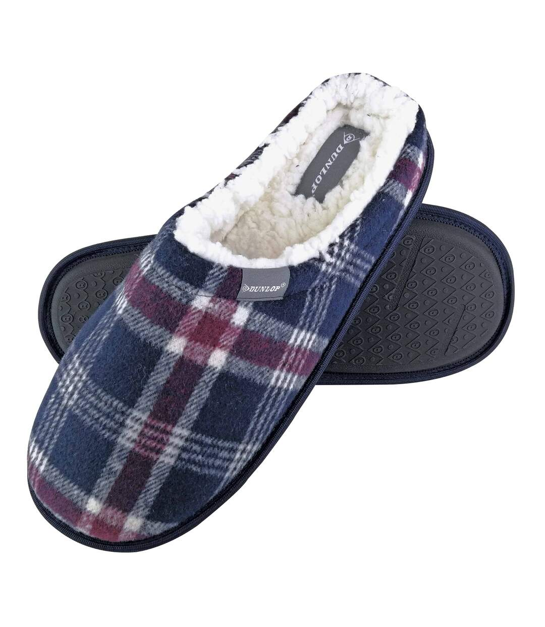 Dunlop - Mens Fleece Lined Mule Checked Slippers