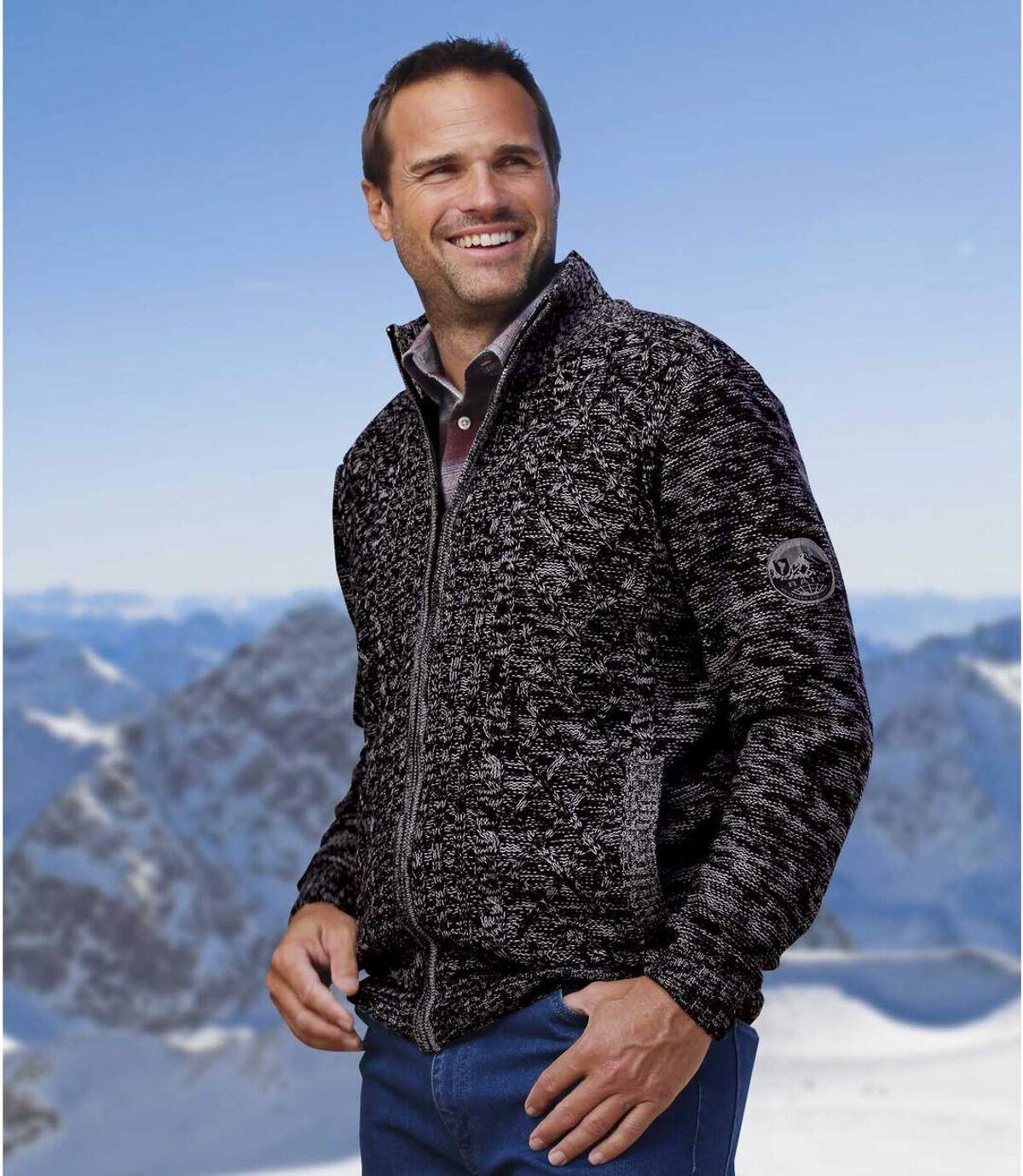 Pletený svetr sfleecovou podšívkou Atlas For Men