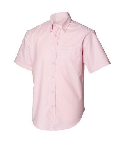 Henbury Mens Short Sleeve Classic Oxford Work Shirt (Pink) - UTRW639