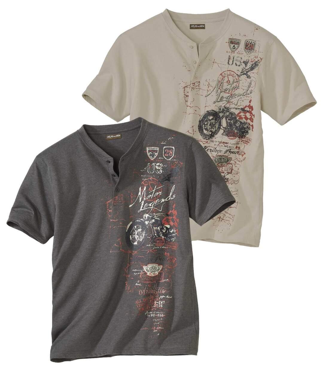 Set van 2 T-shirts met Tunesische kraag