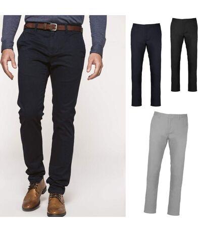 Lot 3 pantalons toile chino - homme K740 - bleu marine noir et gris