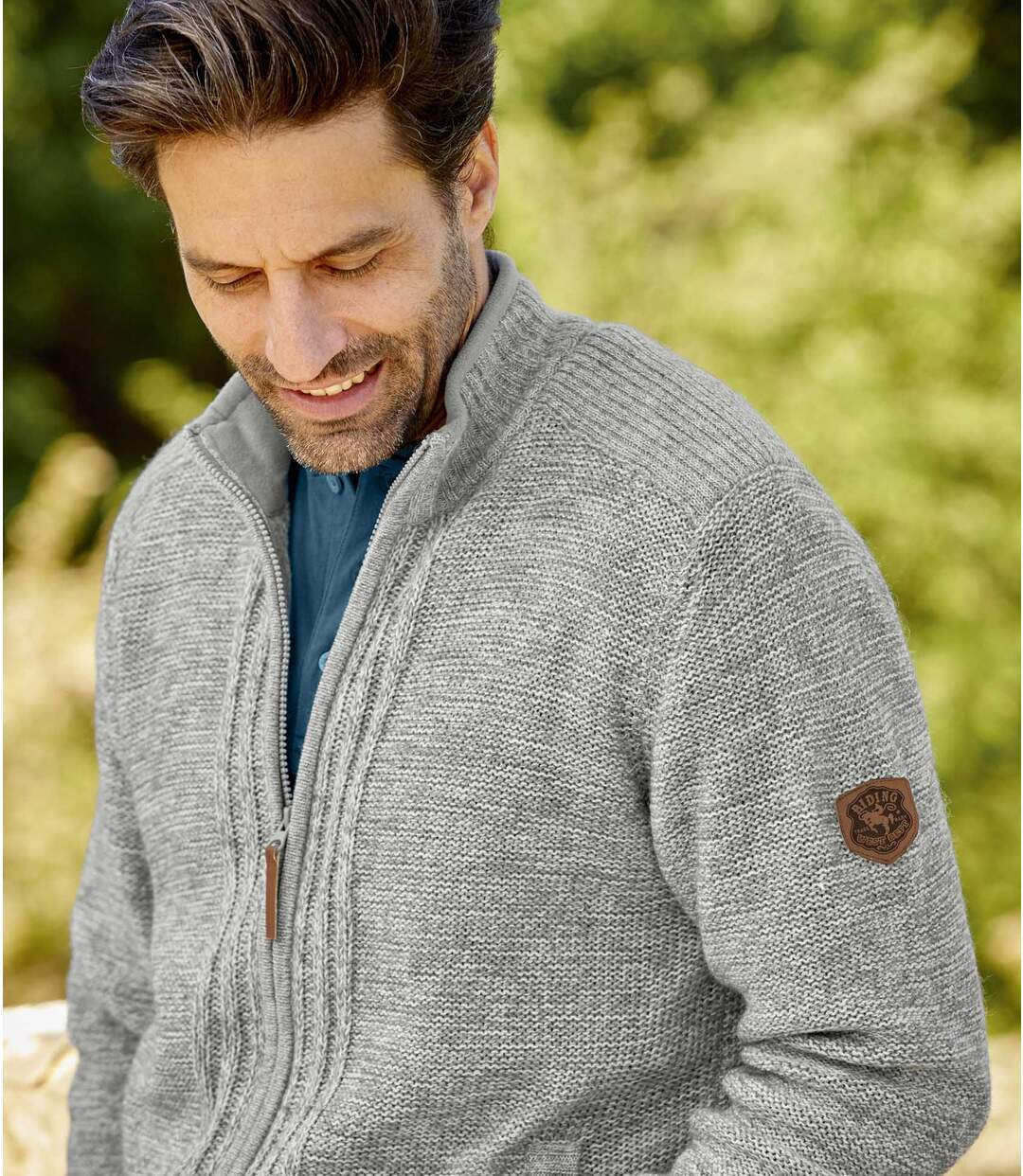 Úpletový sveter na zips Casual Chic