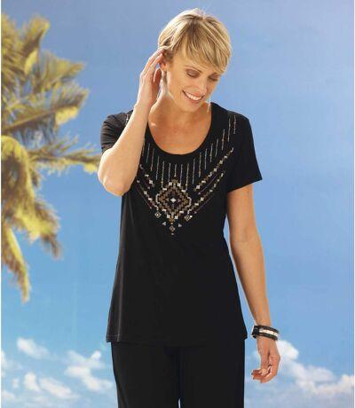 Women's Round Neck Short Sleeve T-Shirt - Black