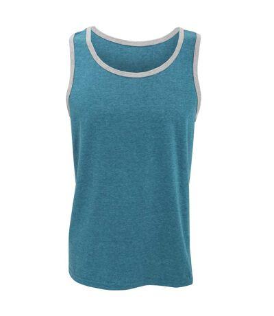 Anvil Mens Fashion Basic Tank Top / Sleeveless Vest (Caribbean Blue/ Heather Grey) - UTRW2529