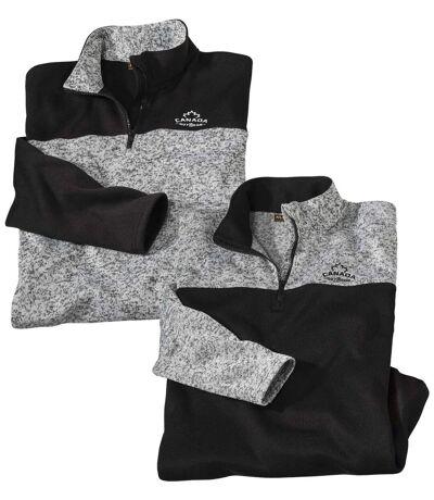 Pack of 2 Men's Outdoor Brushed Fleece Jumpers - Grey Black